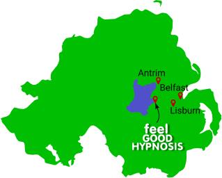 Northern Ireland Map with Antrim and Lisburn and Belfast marked